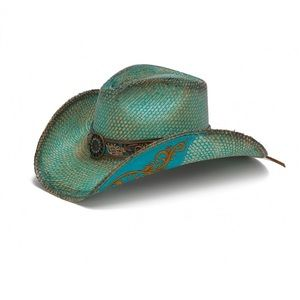 Stampede Hats- Faded Blue Panama Straw Western Hat